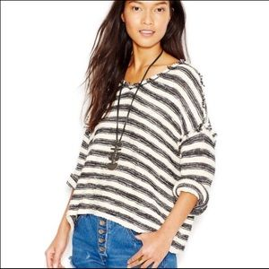 Free People Striped Spells Trouble Sweater Top